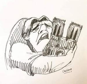Quasimodo piange su Notre Dame in fiamme