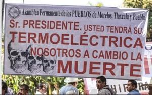 contestazioni alla termoelettrica nel Morelos