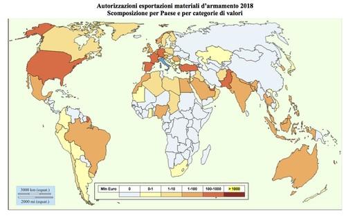 Mappa/planisfero delle autorizzazioni di license per export armi italiane - anno 2018
