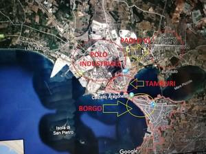 Mappa di Taranto, con il polo industriale e i tre quartieri più vicini: Tamburi, Paolo VI e Borgo