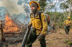 Pompieri al lavoro nella Foresta Amazzonica