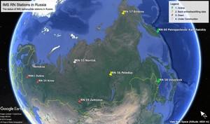 La mappa delle stazioni CTBTO che hanno smesso di funzionare dopo l'incidente del 8 Agosto. Si tratta delle stazioni geograficamente piuù vicine al luogo dell'incidente
