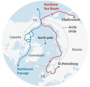 La NSR (Northern Sea Route), nuova via di collegamento marino tra Asia ed Europa, apertasi come conseguenza dello scioglimento del Mar Glaciale Artico