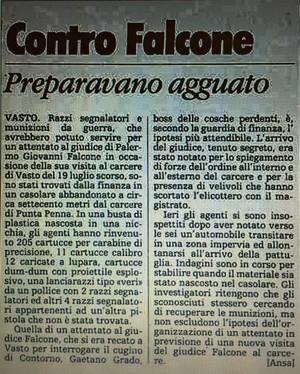 La Stampa 1989. A Vasto tentato attentato a Giovanni Falcone