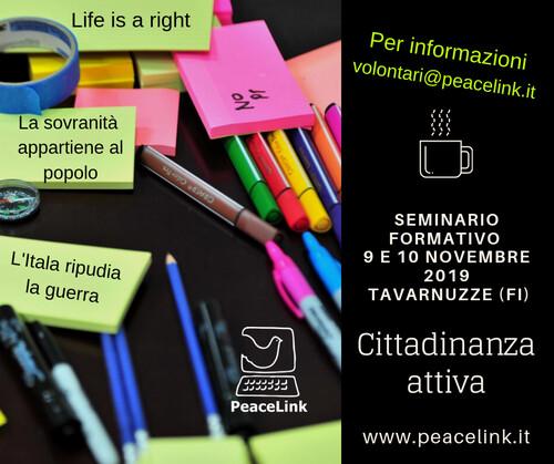 Seminario formativo di PeaceLink nella Casa della Pace di Tavarnuzze, sulle splendide colline toscane vicino a Firenze. Per info: volontari@peacelink.it