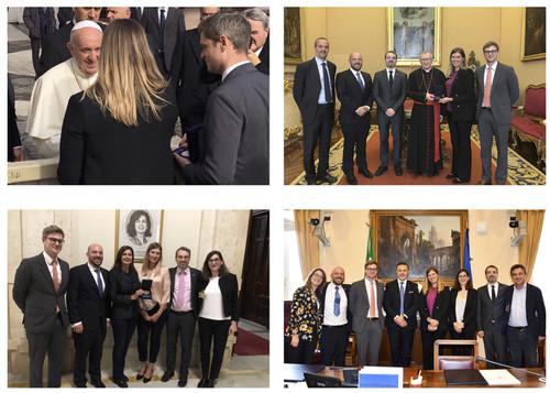 Incontri a Roma ICAN novembre 2019 Papa Francesco, Card. Pietro Parolin, Laura Boldrini, Gianluca Rizzo