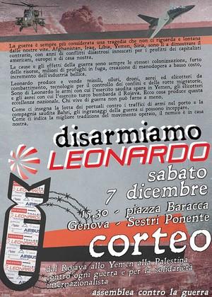 """Corteo """"Disarmiamo Leonardo""""  sabato 7 dicembre dalle 15.30 a Genova – Sestri Ponente in piazza Baracca."""