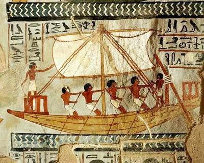 Imbarcazione fluviale in un dipinto parietale egizio.