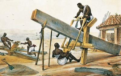 Lavorazione del legno. Illustrazione popolare del XVIII secolo.
