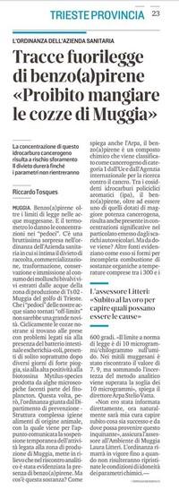 La Asl di Trieste vieta di mangiare mangiare le cozze di Muggia perché contaminate da BenzoApirene