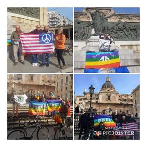 Foto da alcune delle oltre 50 piazze mobilitate in Italia contro le guerre in adesione all'appello internazionale dei pacifisti statunitensi