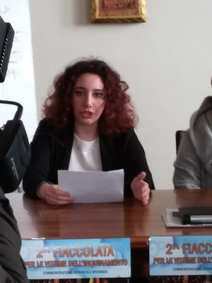 Martina Andrisani a sostegno della fiaccolata del 26 febbraio 2020 a Taranto