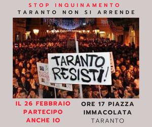 """""""Taranto resisti"""". Fiaccolata del 26 febbraio a Taranto per ricordare le vittime dell'inquinamento. Partenza ore 17 da piazza Immacolata"""