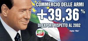 Un altro grande successo del governo in carica: l'aumento dell'export di armi italiane. Manifesto di Mauro Biani - www.maurobiani.splinder.it