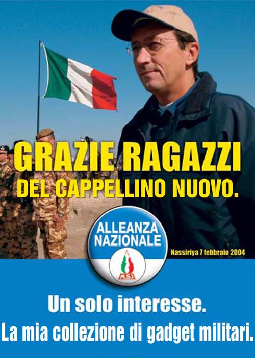 La guerra in Iraq di Gianfranco Fini. Manifesto di Mauro Biani - www.maurobiani.splinder.it