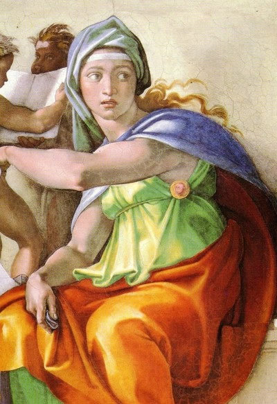 La sibilla cumana di Michelangelo, nell'affresco della Cappella Sistina.
