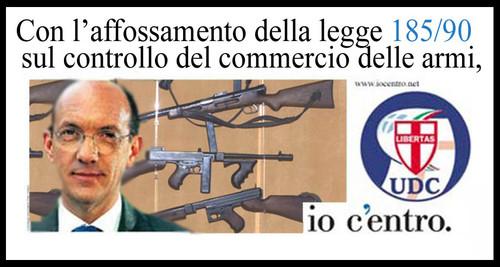 Che ruolo hanno avuto i partiti di ispirazione cattolica nello stravolgimento della legge 185/90 sul commercio delle armi? Manifesto di Mauro Biani - www.maurobiani.splinder.it
