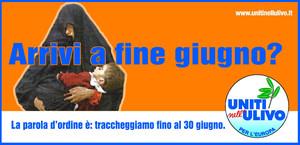 L'Ulivo temporeggia sul dramma iracheno. Manifesto di Mauro Biani - www.maurobiani.splinder.it