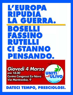 I leader dell'Ulivo e i tentennamenti sulla Pace. Manifesto di Mauro Biani - www.maurobiani.splinder.it