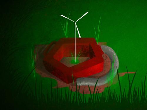 Serbatoio di gas pentagonale con all'interno una pala eolica