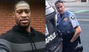 George Floyd e il poliziotto Derek Chauvin che lo ha assassinato