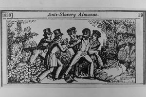"""Una caricatura dei """"cacciatori di schiavi"""" raffigurata nell'""""Anti-Slavery Almanac"""" del 1839."""
