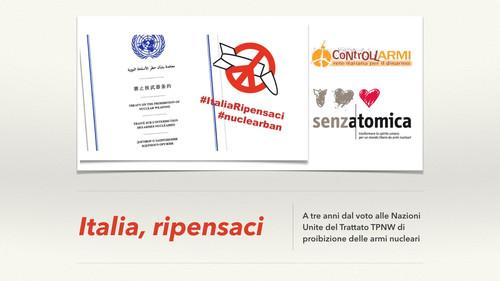 Trattato TPNW anniversario - Italia Ripensaci
