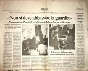 Foto di di Francesca Di Credico, presidente del comitato Per una nuova Rancitelli. Articolo del 17 marzo 1993 sulle attività dell'allora comitato