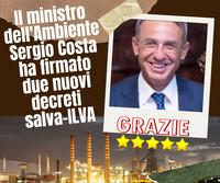 Il ministro dell'Ambiente Sergio Costa ha firmato due nuovi decreti salva-ILVA