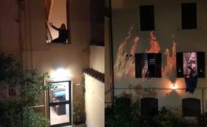 Gaia Riposati recita Poe mentre Massimo Di Leo brucia i nostri mali per il happening di Halloween 2020 tenutosi in un cortile di San Lorenzo (Roma)