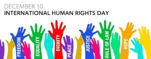 """Giornata Internazionale dei Diritti Umani. Articolo 1 della Dichiarazione Universale dei Diritti Umani: """"Tutti gli esseri umani nascono liberi ed eguali in dignità e diritti. Essi sono dotati di ragione e di coscienza e devono agire gli uni verso gli altri in spirito di fratellanza""""."""