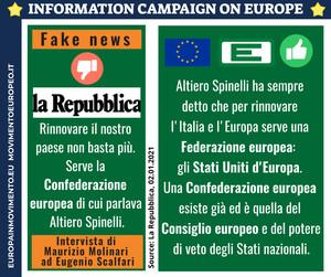 Campagna di informazione sull'Europa. Infografica sulla fake news di Repubblica