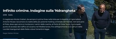 """""""Infinito crimine. Indagine sulla 'Ndrangheta"""", documentario del 2018 visibile su Rai Play"""