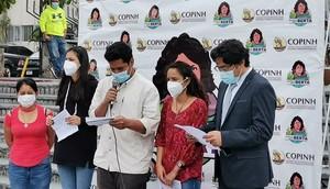 Conferenza stampa della famiglia di Berta Cáceres e dell'accusa privata (foto Copinh)