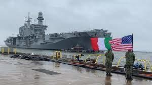 """L'arrivo della portaerei """"Cavour"""" a Norfolk, in Virginia, il 14 febbraio scorso"""
