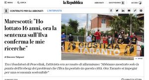 L'articolo originale sul sito web di Repubblica relativo alla sentenza sull'ILVA e alla storia della lotta di PeaceLink