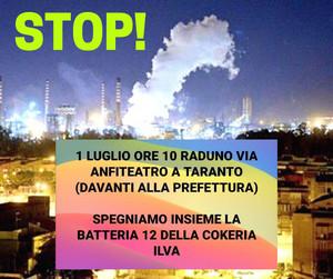 Stop batteria 12, questa era stata l'iniziativa messa in atto dagli ambientalisti a luglio davanti alla prefettura di Taranto