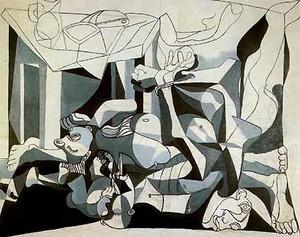 """Pablo Picasso,  L'ossario, 1945; olio e carboncino su tela, 199,8x250,1 cm. New York, MoMA  """"Ossario"""". L'ossario (o Il carnaio) di Pablo Picasso è un'opera dedicata al ricordo della Shoah."""