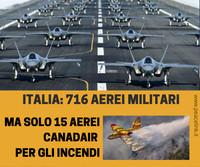 In Italia 716 aeromobili militari ma solo 15 aerei per spegnere gli incendi