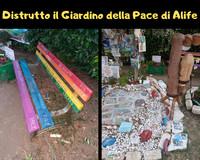Alife, distrutto il Giardino della Pace