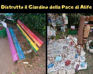 Atti vandalici al Giardino della Pace di Alife - Caserta
