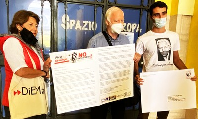 Delivering the Julian Assange letter, asking for sanctions against the U.S. and the UK, to President von der Leyen at the Rome headquarters of the European Commission