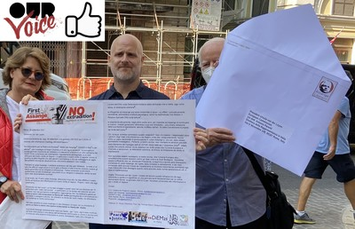 Another photo of the hand-delivery of the Julian Assange letter asking for sanctions against the U.S. and the UK, to President von der Leyen at the Rome headquarters of the European Commission