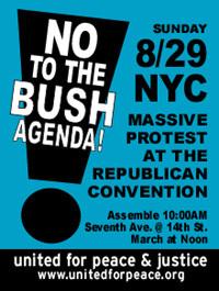Il manifesto di convocezione della manifestazione pacifista americana