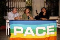 Da sinistra, Roberto Del Bianco di Peacelink, Isabella Becucci di Emergency e Christian Elia di Peacereporter.
