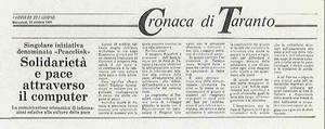 """Il 28 ottobre 1991 nasceva ufficialmente la rete telematica PeaceLink: l'annuncio e' dato da uno """"storico"""" articolo del Corriere del Giorno."""