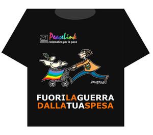 """Maglietta nera """"fuori la guerra dalla tua spesa"""". Disegno di Mauro Biani"""