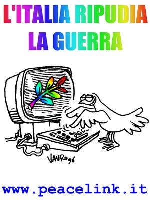 L'Italia ripudia la Guerra. Maglietta arcobaleno con disegno di Vauro