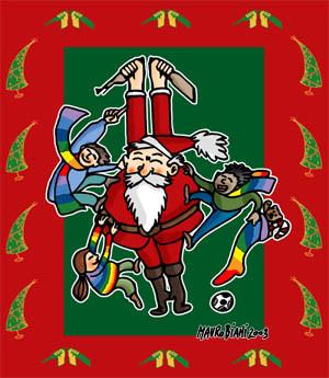 Il Babbo Natale pacifista disegnato da Mauro Biani