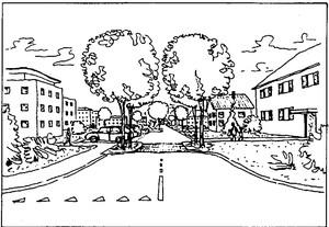 Disegno di una porta di accesso al centro cittadino che combina una strettoia, un rialzamento di carreggiata e un cambio di pavimentazione.